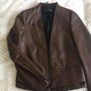 Zara Faux Brown Leather Jacket